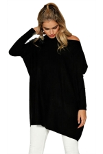 Women Crew Neck Tight Sleeve Plain Sleeve Shirt Black