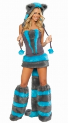 Womens Hooded Cheshire Cat Costume Blue