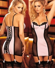 Satin Underwire Bustier With Thong