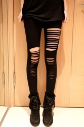 Black Fantasy Stretch Microfiber Asymmetric Ripped Leggings