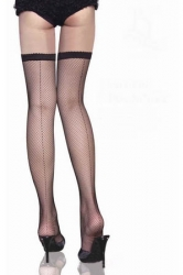Back Seam Fishnet Thigh High Stockings