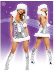 Winter Foil Silver Vinyl Sexy Snowman Christmas Party Dress Costume
