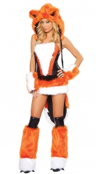 Womens Sexy Cheshire  Fox Adult Halloween Costume Orange