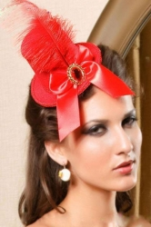 Mini Red Top Hat with Feather and Resin Diamond