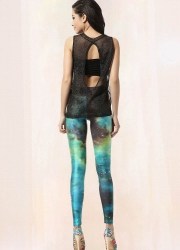 Craze Slim Green Galaxy Print Leggings