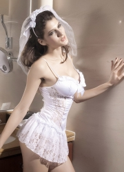 Cute White Lace Bride Lingerie Costume
