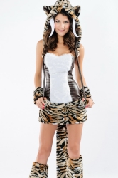 Sexy Deluxe Adult Halloween Tooth Tiger Costume