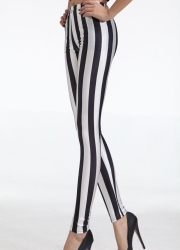 Black and White Vertical Striped Zebra Womens Leggings