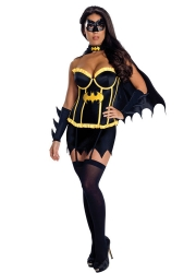 Womens Batgirl Strapless Halloween Costume Black Yellow