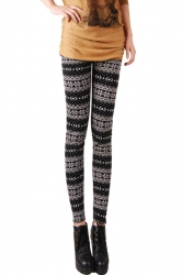 Womens Winter Snow Patterned Warm Lined Christmas Leggings