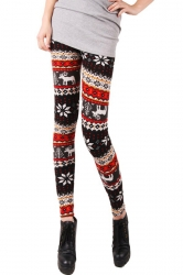 Red Grey Winter Warm Womens Thick Christmas Leggings