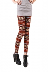 Sexy Red Floral Striped Warm Winter Patterned Christmas Leggings