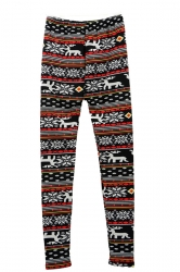 Red Winter Reindeer Printed Lined Warm Christmas Leggings