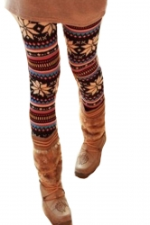 Winter Print Fleece Lined Womens Christmas Warm Tights