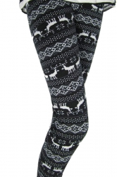 Black And White Reindeer Patterned Cotton Lined Christmas Tights