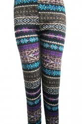 Purple Snowflake Pattern Striped Christmas Leggings