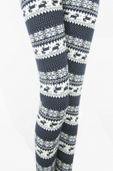 Navy Blue Snowflake Deer Pattern Polka Dot Christmas Leggings