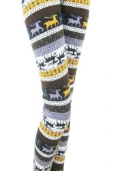 Yellow Deer Pattern Polka Dot Christmas Leggings