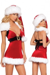 Wraped Low Cut Red Sexy Mrs Santa Claus Costume
