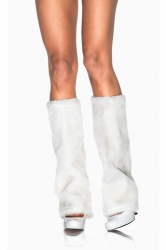 White Boot Covers Fur Christmas Leg Warmers