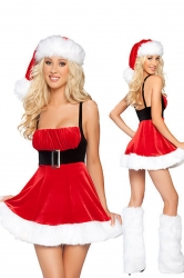 Mini Cute Belted Waist Red Santa Costume Female Christmas Costume