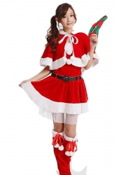 Cute wraped Miss Santa Clause Costume Girl Christmas Costume