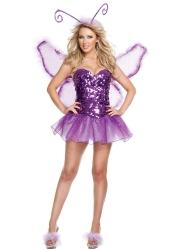 Purple Sequin Butterfly Fairy Halloween Costume