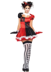 Womens Harley Quinn Ringmaster Halloween Character Costume - Red