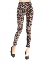 Coffee Leopard Fur Print Animal Print Leggings