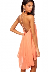 Orange Pink Ladies High Low Spaghetti Strap Metal Button Chiffon Dress