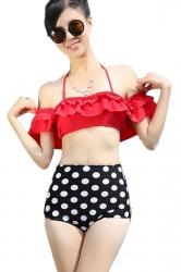 Red Ladies Ruffle Bikini Top &  Swimwear Polka Dot High Waisted Bottom