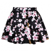 Black Fancy Plum Blossom Printed Ladies Pleated Skirt