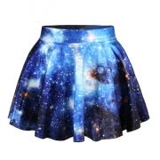 Blue Sexy Galaxy Pleated Womens Skirt