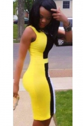 Yellow Sexy Slimming Sleeveless Ladies Club Bodycon Dress
