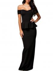 Black Elegant Ladies Off the Shoulders Peplum Evening Dress
