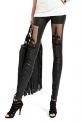 Black Retro Womens Lace Punk Faux Leather Leggings