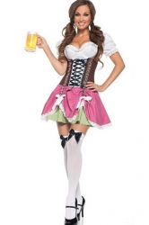 Pink Sexy Ladies German Beer Girl Maid Costume