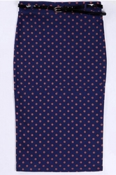 Blue Pretty Ladies Polka Dot Elastic Pencil Skirt