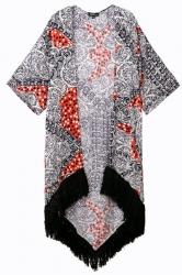 Black Vintage Ladies Tribal Print Tassel Hem Kimono