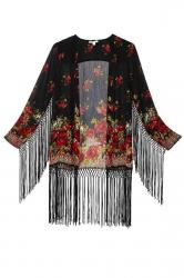 Fashion Ladies Long Sleeves Floral Tassel Kimono