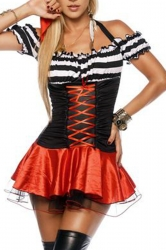Black Vintage Ladies Pirate Halloween Costume