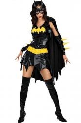 Black Fashion Ladies Batman Halloween Superhero Costume