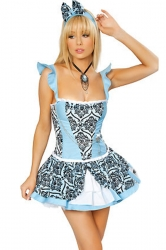 Blue Sweet Ladies Halloween Maid Costume
