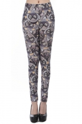 Gray Pretty Womens Owl Printed Animal Print Leggings