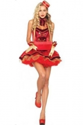 Womens Vintage Cigarette Girl Halloween Costume Red