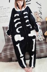 Black Cool Ladies Pajamas Halloween Skull Jumpsuit Costume