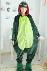 Wicked Womens Flannel Pajamas Halloween Dinosaur Jumpsuit Costume