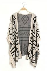 Trendy Womens Half Sleeves Argyle Pattern Print Kimono