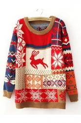 Trendy Womens Color Block Reindeer Pattern Pullover Christmas Sweater
