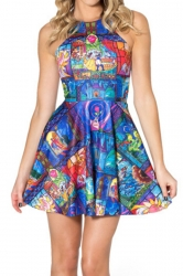 Blue Cute Ladies Beauty and the Beast Printed Apron Skater Dress